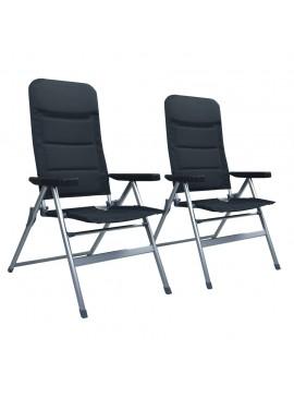 Καρέκλες Κήπου Ανακλινόμενες 2 τεμ. Μαύρες Αλουμινίου  47740