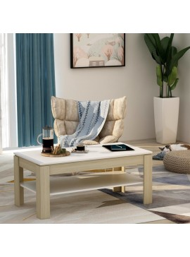 Τραπεζάκι Σαλονιού Λευκό/Sonoma Δρυς 110x60x47 εκ. Μοριοσανίδα  800779