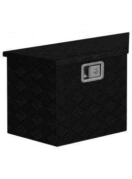 Κουτί Αποθήκευσης Τραπεζοειδές Μαύρο 70x24x42 εκ. Αλουμινίου  146444