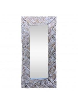 Καθρέπτης Ξύλινος 40x60 Aντικέ Aσπρο Xρώμα. Xειροποίητος AB-AB048