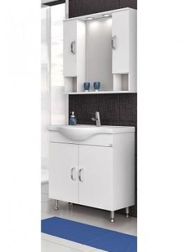 Drop Alba 80 Λευκό Ολοκληρωμένη Σύνθεση Μπάνιου (Πάγκος-Καθρέπτης Ντουλάπι-Νιπτήρας) Νο1