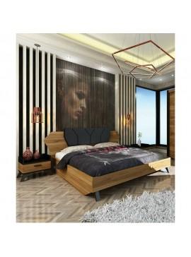 Κρεβάτι διπλό με 2 κομοδίνα, 160/200, KAFE,  Genomax  12814-326566565