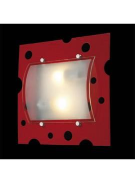 Φωτιστικό τοίχου και οροφής, 2 λάμπες τύπου E27, 33*33*10, Κόκκινο, 3102