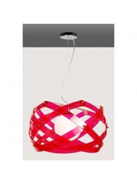 Κρεμαστό Φωτιστικό Plexi Glass με 1 λάμπα Ε27, 40*40*40 εκ, Χρώμα Φούξια, F6-2