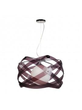 Κρεμαστό Φωτιστικό Plexi Glass με 1 λάμπα Ε27, 67*67*67 εκ, Χρώμα Καφέ, F6-5