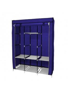 Φορητή Υφασμάτινη Ντουλάπα με Μεταλλικό Σκελετό 130 x 45 x 170 cm Χρώματος Μπλε Hoppline HOP1000701-1  HOP1000701-1