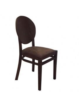 Καφέ Ξύλινη Καρέκλα, Μασίφ Ξύλο, Καφέ ύφασμα- Καφέ Ξύλο GN-G502-1