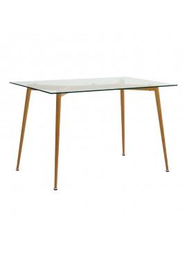 Τραπέζι Philip Megapap με γυάλινη επιφάνεια και μεταλλικά πόδια σε χρώμα φυσικό 120x75x76εκ. GP001-0038