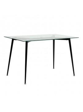 Τραπέζι Philip Megapap με γυάλινη επιφάνεια και μεταλλικά πόδια σε χρώμα μαύρο 120x75x76εκ. GP001-0039