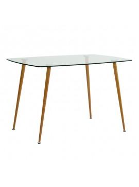 Τραπέζι Sophie Megapap με γυάλινη επιφάνεια και μεταλλικά πόδια σε χρώμα φυσικό 120x75x76εκ. GP001-0040