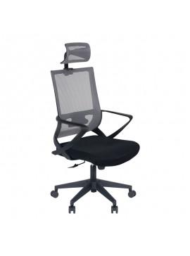 Καρέκλα γραφείου Cooper Megapap με ύφασμα Mesh σε χρώμα γκρι - μαύρο 59x56x123/134εκ. GP003-0002