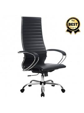 Καρέκλα γραφείου εργονομική Francy Megapap από τεχνόδερμα σε χρώμα μαύρο 66,5x70x113,3/131εκ. GP008-0023