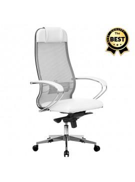 Καρέκλα γραφείου εργονομική Samurai-1 Megapap με ύφασμα Mesh σε λευκό 70x71x123/138εκ. GP008-0025