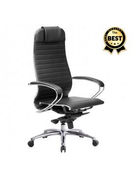 Καρέκλα γραφείου εργονομική Samurai-3 Megapap από τεχνόδερμα σε μαύρο 70x71x123/138εκ. GP008-0028