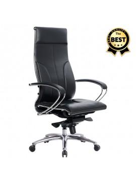 Καρέκλα γραφείου εργονομική Samurai-6 Megapap από τεχνόδερμα σε μαύρο 70x70x122/133εκ. GP008-0032