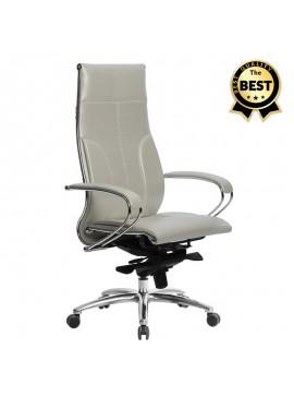 Καρέκλα γραφείου εργονομική Samurai-6 Megapap από τεχνόδερμα σε λευκό 70x70x122/133εκ. GP008-0033