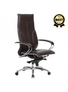 Καρέκλα γραφείου εργονομική Samurai-6 Megapap από τεχνόδερμα σε σκούρο καφέ 70x70x122/133εκ. GP008-0034