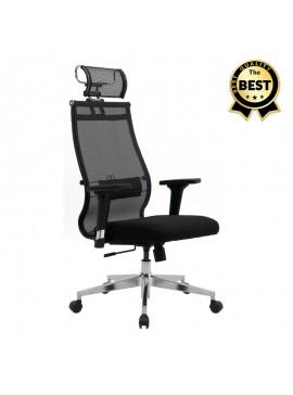 Καρέκλα γραφείου Euro Megapap εργονομική με ύφασμα polyester σε χρώμα μαύρο 66,5x70x118/131εκ. GP008-0037