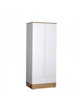 Ντουλάπα ρούχων Base Megapap δίφυλλη σε χρώμα λευκό - sonoma 80x52x198εκ. GP009-0024