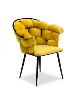 Πολυθρόνα σαλονιού Phillip Megapap βελούδινη σε χρώμα μουσταρδί 80x63x91εκ. GP016-0011