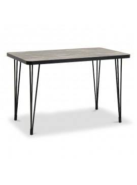Τραπέζι Rocky Megapap με μεταλλικό σκελετό - επιφάνεια από Mdf σε χρώμα μαύρο 120x70x77εκ. GP016-0098
