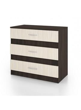 Συρταριέρα CITY3001 με 3 συρτάρια 80x43,5x76, Χρώμα Wenge-Sonoma. IR-CITY3001WEGE
