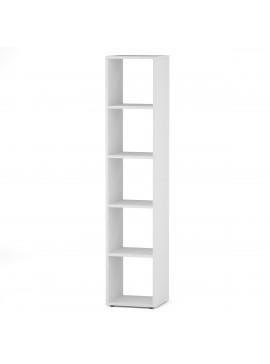 Βιβλιοθήκη, χρώμα λευκό, BEN SHELF 1X5,  31*30*152, KO-BEN1X5WHITE