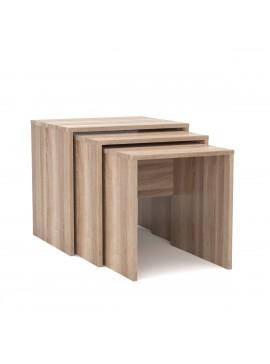 SELENA Ζιγκόν σετ 3 τεμ. τραπεζάκι σαλονιού με εξωτερική διάσταση 52x45x50 χρώμα Sonoma. KO-SELENA3SONOMA