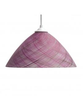 Φωτιστικό Κρεμαστό Μονόφωτο Γυάλινο Ρόζ με γραμμές E27 30*30*70cm MEC-1147F30PINK
