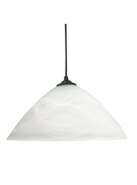 Φωτιστικό Κρεμαστό Γυάλινο Mονόφωτο Λευκό με Λευκές ρίγες E27 30*30*70cm MEC-1147F30WHITE