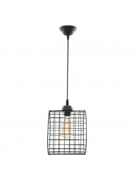 Φωτιστικό Κρεμαστό Μονόφωτο Μεταλλικό Κύλινδρος Μαύρο E27 22*22*70cm MEC-2024201