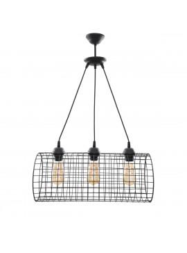 Φωτιστικό Τρίφωτο Μεταλλικό Κύλινδρος, Μαύρο χρώμα 50x21 MEC-2024203