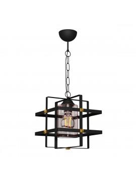 Φωτιστικό Κρεμαστό Harmony Mονόφωτο Μαύρο με Γυαλί  E27 25*25*75cm  MEC-2073-1S