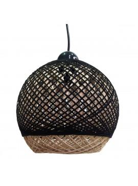 Φωτιστικό Κρεμαστό Μονόφωτο Ψάθα Καφέ-Μαύρο E27 22*22*80cm MEC-2210-20