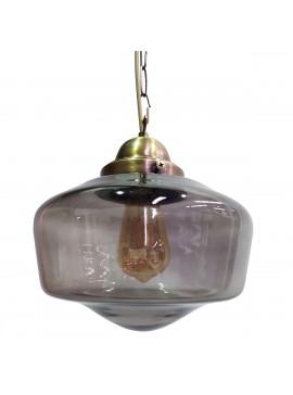 Φωτιστικό Γυάλινο, Χρώμα Φυμέ με αλυσίδα απο χαλκό, διάμετρος 25cm. MEC-2331-16
