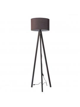 Φωτιστικό Δαπέδου Χρώμα Καφέ με υφασμάτινο καπέλο και ξύλινη βάση σε Χρώμα Βέγκε. MEC-2711-1BROWN