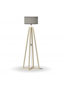 Φωτιστικό Δαπέδου Μονόφωτο Γκρί καπέλο ξύλινη βάση E27 50*50*147cm MEC-2718-1GREY