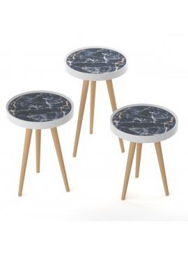 ΣΕΤ 3 τεμ. Τραπεζάκια Black Marble με Ξύλινα πόδια, Διάμ. 39 εκ.,Υψος 60,53,48 εκ, MEC-M15-3