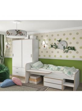 Κρεβάτι Ben 90x200 Mονό, Λευκό-Σονόμα Λεπτομέρειες, με 2 συρτάρια και γραφειάκι SO-BENBED