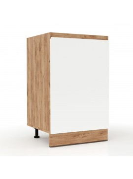 Επιδαπέδιο ντουλάπι κουζίνας Soft Λευκό με βελανιδιά Διαστάσεις 50x46,5x81,5εκ SO-SD50