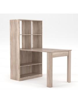 Γραφείο/Τραπέζι, Πολυχρηστικό, 80x133x150, Χρώμα Sonoma, Με Ράφια, TO-120