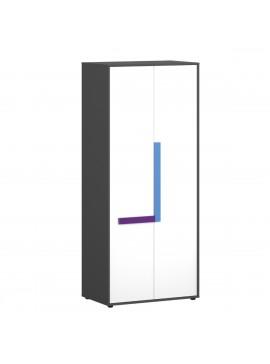 Ντουλάπα Alex 84x50x194, Γραφίτης-Λευκό, 2 Πόρτες TO-ALEX2D