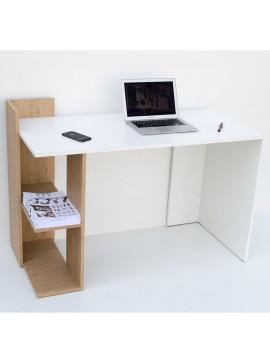 Γραφείο 120x55x85, Λευκό - με Φυσικό, Μοντέρνα Σχεδίαση TO-DESKHOSHELF