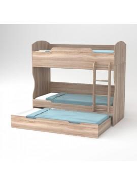 HOSTEL Κρεβάτι Κουκέτα 203x93.2x185 Φυσικός Δρυς με Σκάλα και Βάση (τάβλες) Στρωμάτων και Επιπλέον Συρτάρι Κρεβάτι. TO-HOSTEL