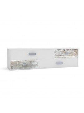 Pump Έπιπλο TV 150x40x43, Λευκό με Μοντέρνα Διακόσμηση, 4 συρτάρια. TO-PUMP4S