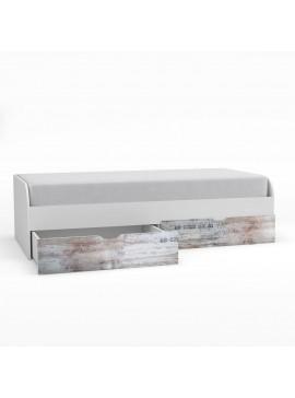 Pump Κρεβάτι 90x200 Μονό, με 2 συρτάρια, Λευκό με μοντέρνα διακόσμηση TO-PUMPBED2S