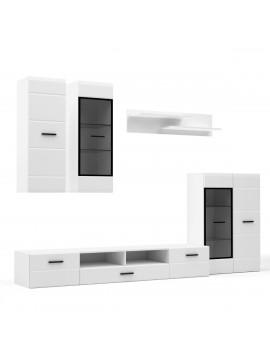 Σύνθεση TV SNOW 5 τεμαχίων 276x44x210 Λευκή με μαύρες λεπτομέρειες, τζάμι, και MDF Καμπυλωτό τελείωμα στις πόρτες. TO-SNOWWHITE
