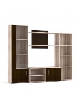 Σύνθεση TV Tigra 215x51.5x177cm Σονόμα-Wenge, Γυάλινη Πόρτα TO-TIGRA