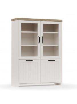 VERNE BITPINA 114.8x37.2x153cm χρώμα Λευκό/Φυσικός Δρυς. TO-VERNEWIT2W2D
