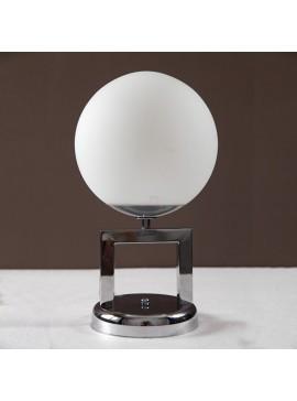 Επιτραπέζιο Φωτιστικό, Χρώμιο με Λευκή Γυάλινη Μπάλα, 20x20x35, 1 λάμπα τύπου E27 (Max 40 Watt, δεν περιλαμβάνεται), TOP-100Τ-1